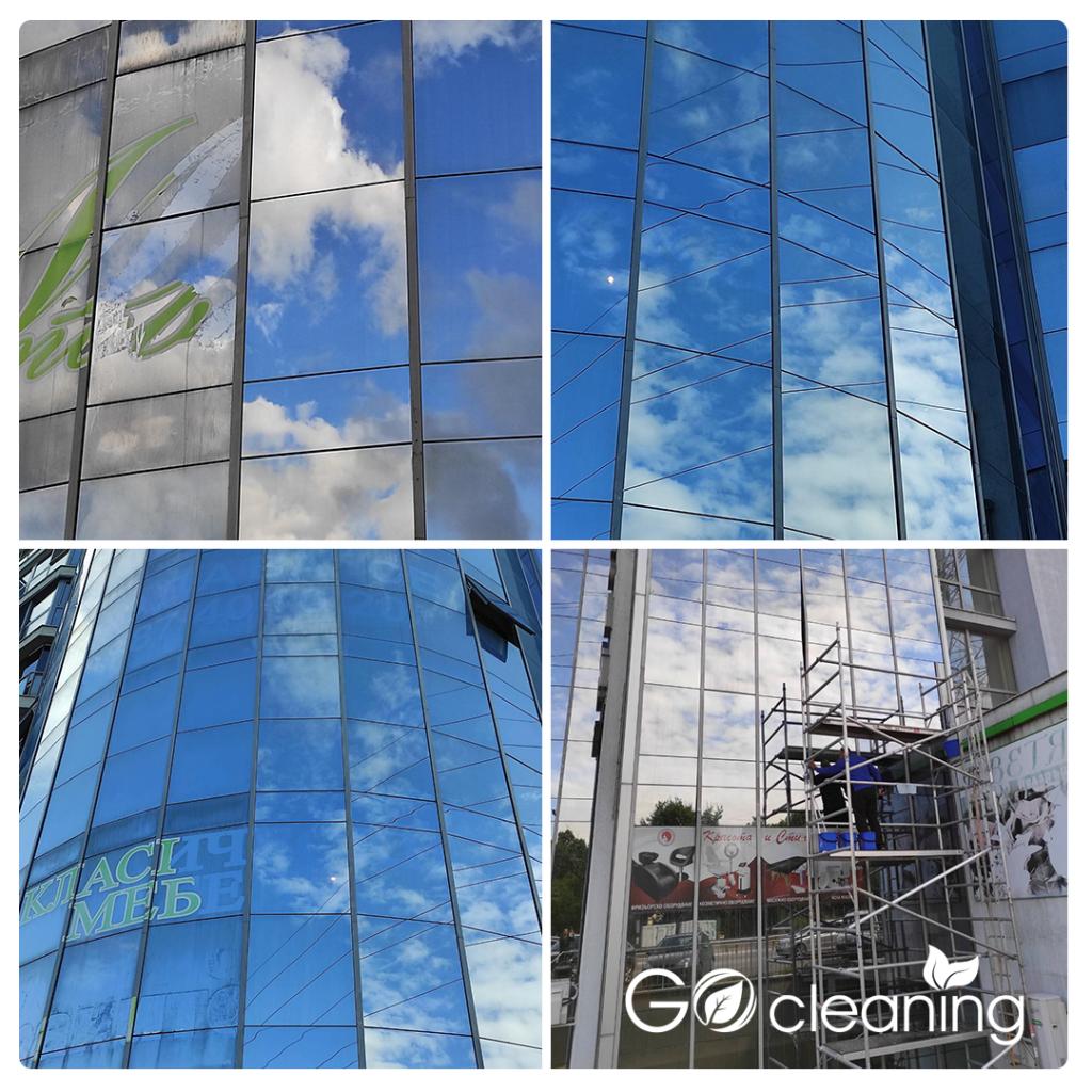 Почистване на стъклена фасада